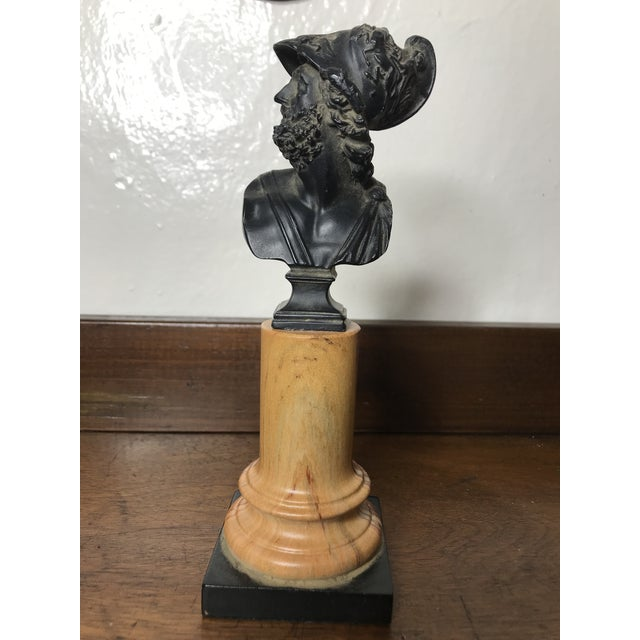 20th Century Grand Tour Tall Marbleized Column With Roman Warrior Bust For Sale - Image 9 of 12