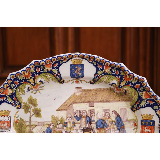 Ceramic Large 19th Century French Hand-Painted Oval Faience Wall Platter From Brittany For Sale - Image 7 of 12