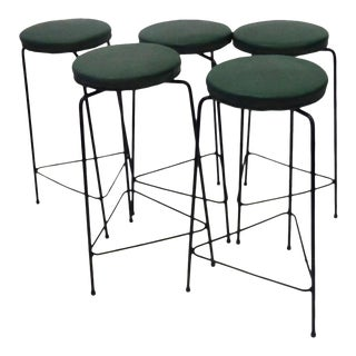 Set of Five Arthur Umanoff Three-Legged Wrought Iron Swivel Bar Stools For Sale