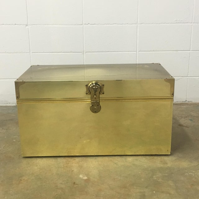 Dresher Cedar Lined Brass Trunk With Glass Top - Image 9 of 11