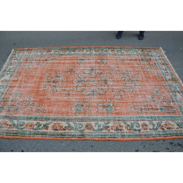 Modern Modern Turkish Oushak Handwoven Orange Wool Floral Rug For Sale - Image 3 of 6