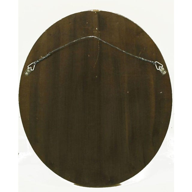 Carved Wood & Gilt Oval French Regency Style Mirror For Sale - Image 4 of 4