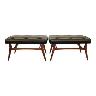Mid-Century Danish Modern Teak & Black Faux Leather Benches - A Pair