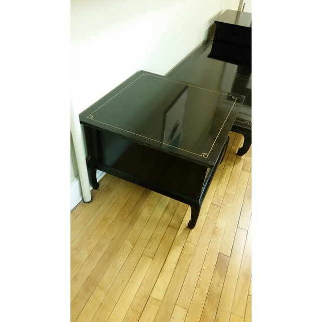 Am. Of Martinsville Black Lacquer Tables - Pair - Image 6 of 8