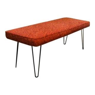 Mid-Century Hair Pin Leg Upholstered Bench For Sale