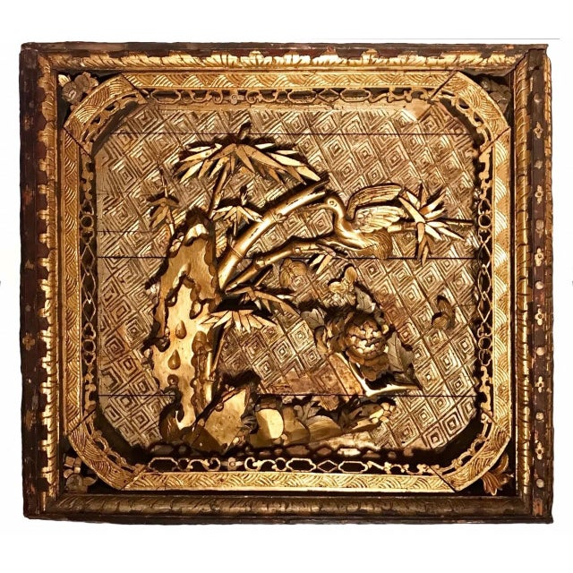 18th Century Antique Qing Chinese Carved Giltwood Temple Wall Panel For Sale - Image 13 of 13