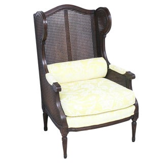 Vintage Mid-Century Caned Wingback Armchair For Sale
