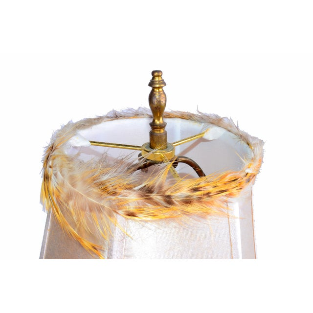 Italian Brass and Glass Table Lamp With Shade For Sale - Image 9 of 10