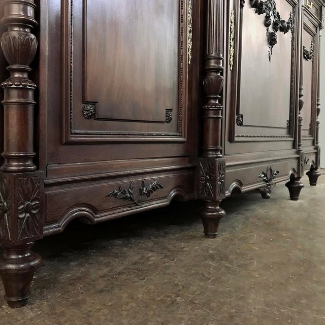 Late 19th Century 19th Century French Walnut Louis XVI Marble Top Buffet For Sale - Image 5 of 13