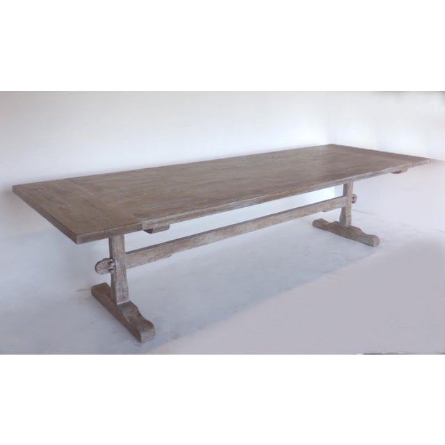 Oak Custom Oak Classic Trestle Table For Sale - Image 7 of 7