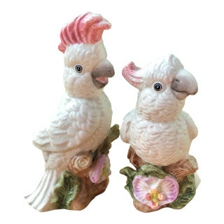 Ceramic Cockatoo Salt and Pepper Shakers- a Pair