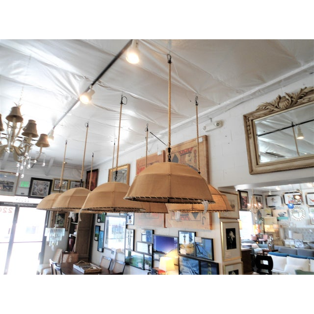Boho Chic Restoration Hardware Burlap Pendant Light For Sale - Image 3 of 6