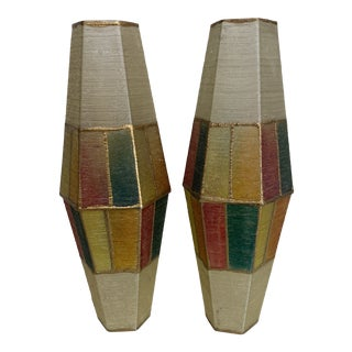 MCM Color Blocked Fiberglass Pendant Shades - a Pair For Sale