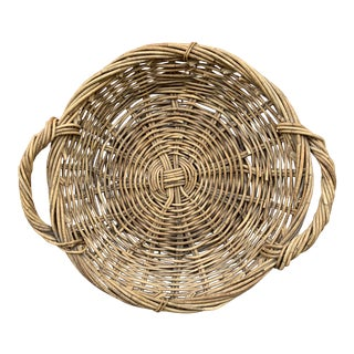 Vintage Wicker Basket Tray For Sale
