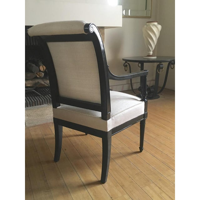 Silk Maison Jansen Pair of Neo Classic Pair of Chic Blackened Wood For Sale - Image 7 of 8