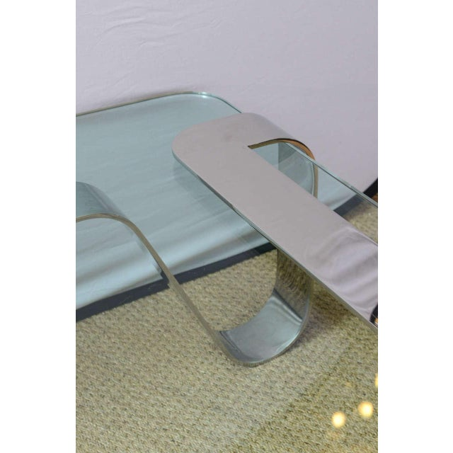 """Glass Rare and Sculptural Gary Gutterman """"Odyssey"""" Coffee Table in Polished Steel For Sale - Image 7 of 10"""