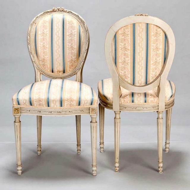 Set of 8 French Louis XVI Cameo Back Dining Chairs With New Upholstery For Sale - Image 4 of 7