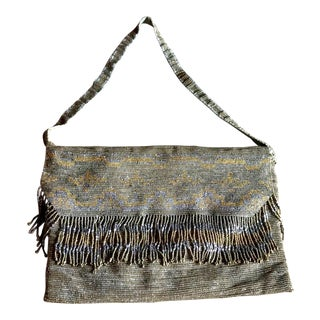 Roaring Twenties Metallic Handbag, French, Vintage Boho Fashion
