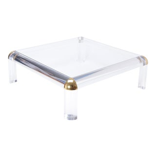 Large Square Vintage Lucite & Brass Coffee Table, 1970s For Sale