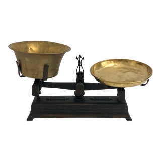 Antique European Scale W/ Brass Plates For Sale