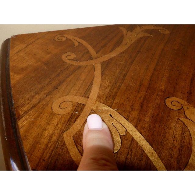 Italian Hand Carved Inlaid Wood Demilune Console Table For Sale - Image 12 of 13