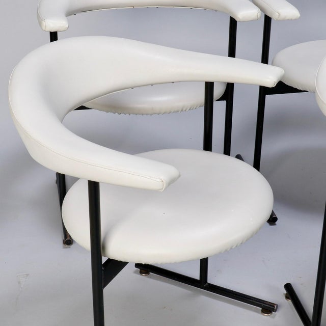 Mid-Century Streamlined Arm Chairs with Black Metal Frames- Set of 6 For Sale - Image 9 of 9
