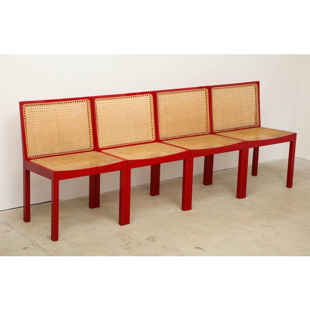 Model 3105 Set of four Bankstuhl, chairs by Swiss Designer Willy Guhl, (1915-2004). Bankstuhl translates to bench chair....