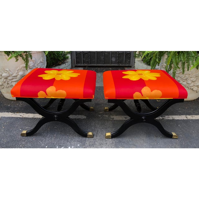 Art Deco Pair of French Art Deco X Benches W Marimekko Seats For Sale - Image 3 of 7