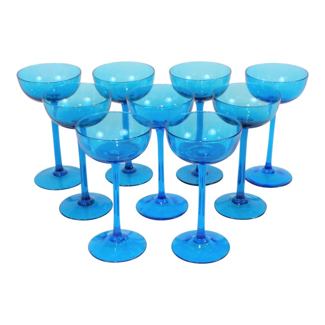 1960's Italian Blue Champagne Coupes - Set of 9 For Sale