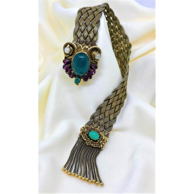 Metal 1940s Victorian Revival Goldtone Jeweled Tassel Bracelet For Sale - Image 7 of 9