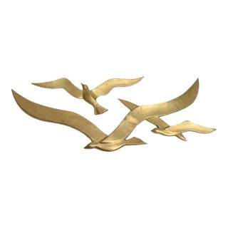 Brass Wall Hanging Seagull Sculpture, 2 pieces For Sale