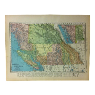 """Antique Rand McNally Atlas of the World Map, """"British Columbia"""", 1895 For Sale"""