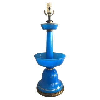 French Blue Opaline Glass Table Lamp For Sale
