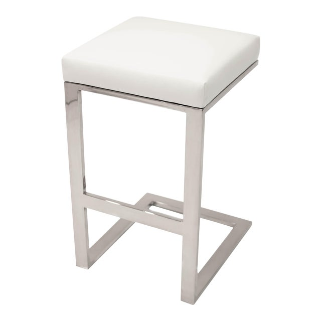 Hot Toddy White Leather Counter Stool For Sale