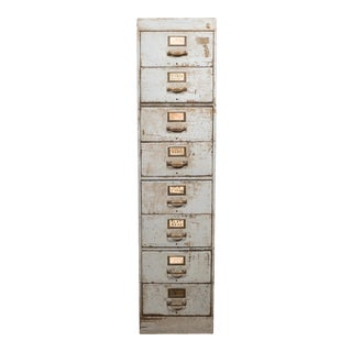 Library Bureau Sole Makers Inc. Industrial Factory 8 Drawer Steel File Cabinet C.1940 For Sale