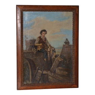 Mid 19th Century Oil Painting of a Young Mason on Lunch Break C.1860s For Sale