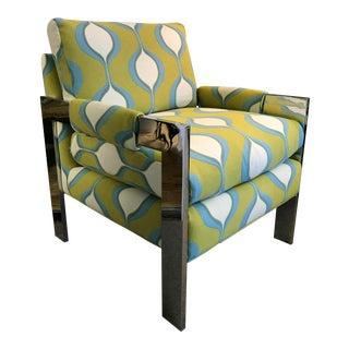 Mid-Century Chrome Milo Baughman Style Chair