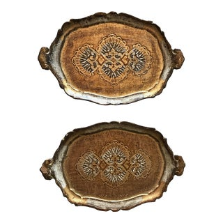 Louis XVI Italian Florentine Gold Leaf Trays - A Pair For Sale