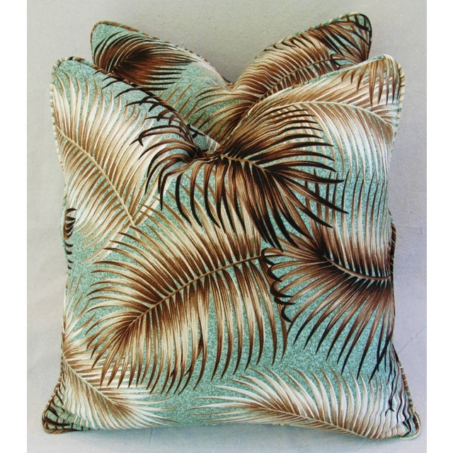 Mid-Century Palm Leaves Barkcloth Pillows - Pair - Image 3 of 9