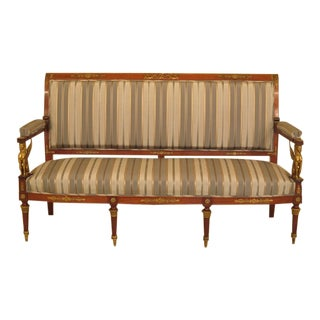 Traditional French Empire Bronze Winged Phoenix Sofa