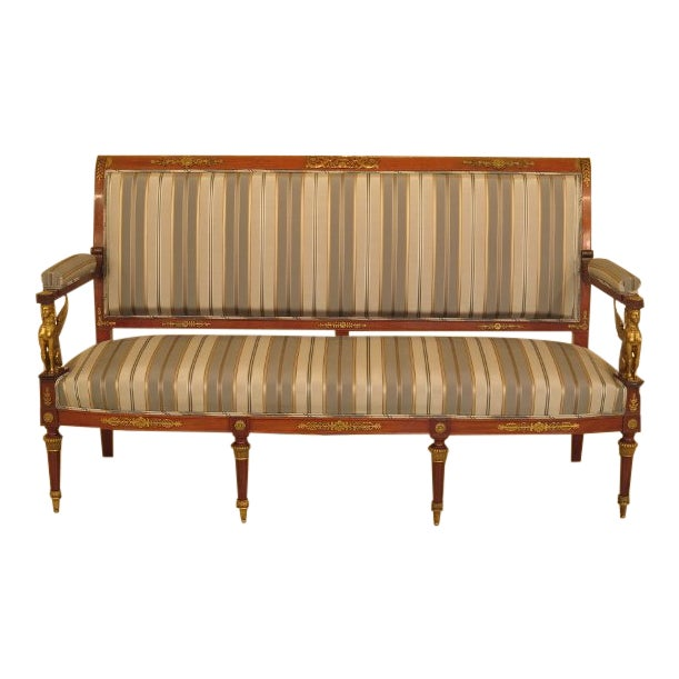 Traditional French Empire Bronze Winged Phoenix Sofa For Sale