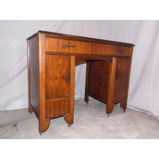 Bakelite Antique Art Deco Walnut Office Desk Vanity 1930's For Sale - Image 7 of 13