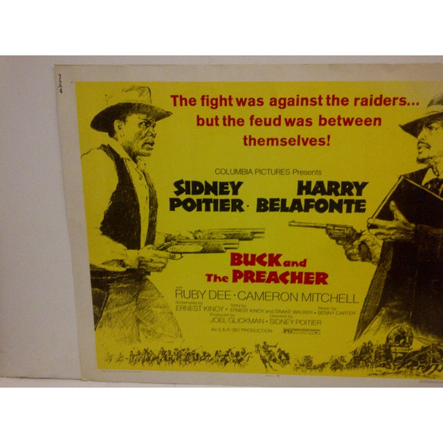"""American 1972 Vintage Movie Poster of """"Buck and the Preacher"""" For Sale - Image 3 of 5"""