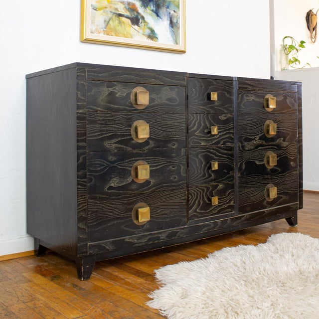 Mid Century Nightstands | Black and Brass | Huntley Furniture For Sale - Image 11 of 13