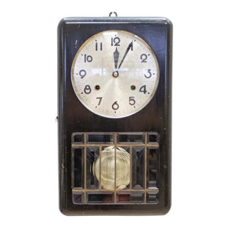 Art Deco Regulatory Pendulum Box Clock by Zenith, Jet Black
