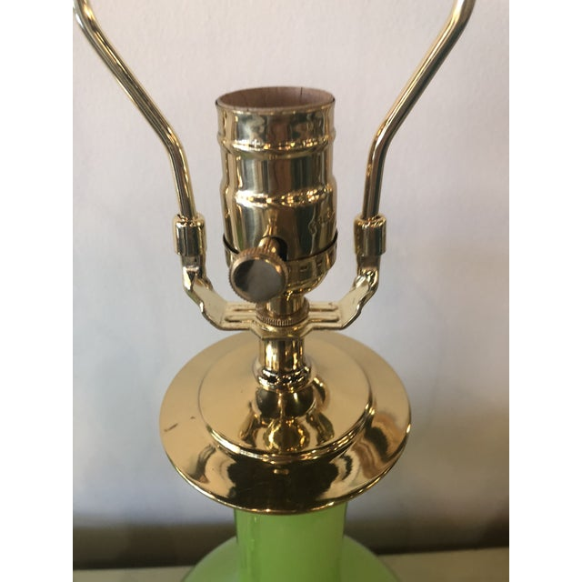 Asian Vintage Paul Hanson Green Opaline Glass Brass Base Table Lamps - A Pair For Sale - Image 3 of 13
