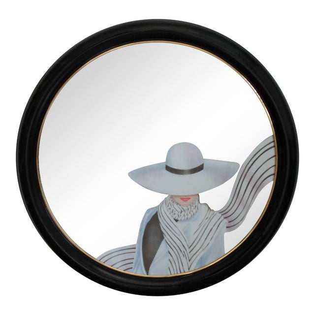 Resin Art Deco Style Round Wall Mirror For Sale - Image 7 of 7