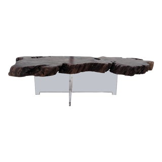 Vintage Reclaimed Burl Redwood Slab Coffee Table With New Lucite Base For Sale