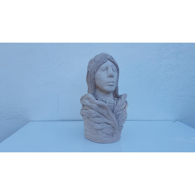 Cantu Ceballos Native American Clay Bust / Sculpture | Chairish