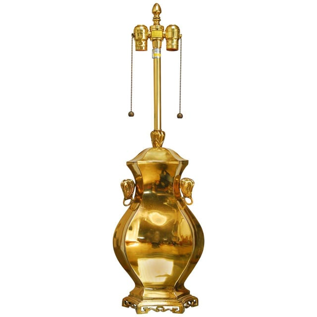 Marboro Chinoiserie Cast Brass Table Lamp - Image 1 of 5